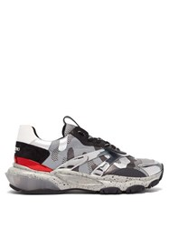 Valentino Bounce Raised Sole Low Top Leather Trainers Silver
