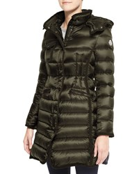 Moncler Hooded Long Puffer Coat Olive Green