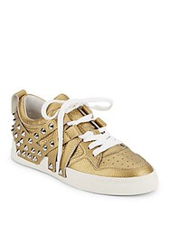 Ash Extra Spiked Metallic Leather Sneakers Antique Gold