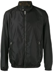 Salvatore Ferragamo Floral Interior Bomber Jacket Black