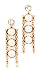 Marc Jacobs Ball Chain Imitation Pearl Earrings Cream Antique Gold