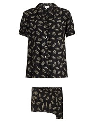Hvn Leopard Print Silk Pyjama Set Black White