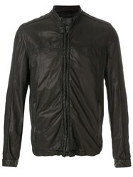Drome Band Collar Leather Jacket Brown