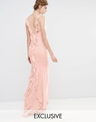 Jarlo Wedding Maxi Dress With Fishtail And Ruffles At Back Pale Pink
