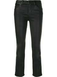 7 For All Mankind Faux Leather Cropped Trousers Black