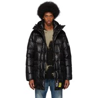 R 13 R13 Black Brumal Edition Down Mid Length Anorak Puffer Coat