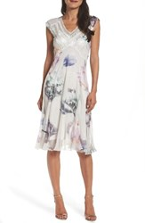 Komarov Women's Floral Charmeuse And Chiffon Midi Dress Etheral Mist
