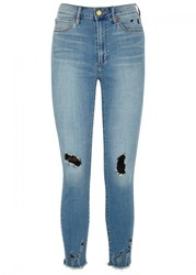 Articles Of Society Heather Blue Distressed Skinny Jeans Light Blue