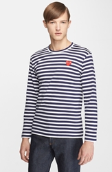 Comme Des Garcons 'Play' Stripe Long Sleeve Crewneck T Shirt Navy White