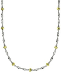 Giani Bernini Singapore Chain And Bead Station Necklace In Sterling Silver And 24K Gold Over Sterling Silver