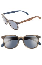 Boss Men's 843 S 52Mm Sunglasses Horn Brown Blue Horn Brown Blue