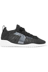 Tod's Metallic Stretch Knit And Suede Sneakers Black