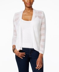 Charter Club Petite Open Knit Striped Cardigan Only At Macy's Bright White