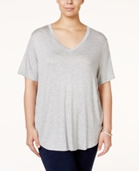 Stoosh Plus Size V Neck Basic T Shirt Heather Grey
