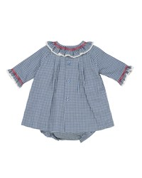 Pili Carrera Smocked And Ruffle Check Dress W Bloomers Size 3M 3T Blue Red
