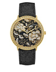 Guess Wildflower Crystal Studded Watch Black