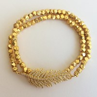 Electric Picks Floating Feather Wrap Bracelet Gold