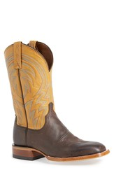 Lucchese 'Alan' Western Boot Men Dark Brown Mustard