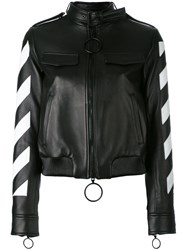 Off White Cropped Bomber Jacket Black