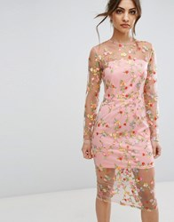 Prettylittlething Embroidered Sheer Midi Dress Pink