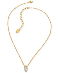T Tahari Gold Tone Navette Crystal Pendant Necklace