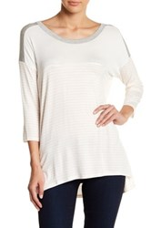 Hip 3 4 Length Sleeve Stripe Tee Multi