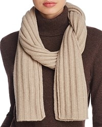 Bloomingdale's C By Elevated Ribbed Cashmere Scarf 100 Exclusive Oatmeal