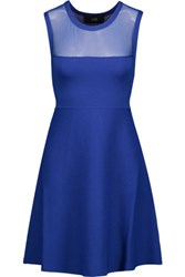 Line Mesh Yoke Cady Mini Dress Royal Blue