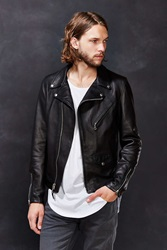 Schott X Uo Pebbled Leather Perfecto Jacket Black