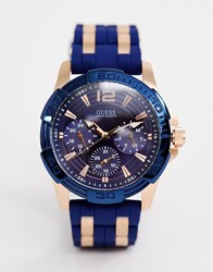 Guess W0366g4 Oasis Silicone And Metal Strap Navy