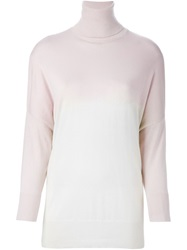 Dusan Roll Neck Fine Knit Sweater Pink And Purple