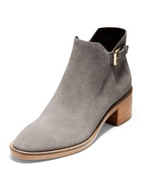 Cole Haan Harrington Grand 360 Low Heel Suede Buckle Booties Stormcloud