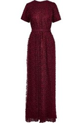 Mikael Aghal Woman Belted Pleated Lace Gown Burgundy