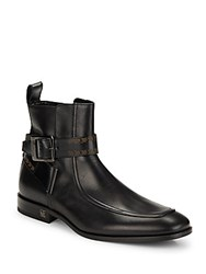 Lanvin Leather Strap Ankle Boots Black