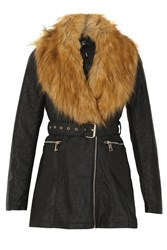 Izabel London Fur Collar Belted Jacket Black