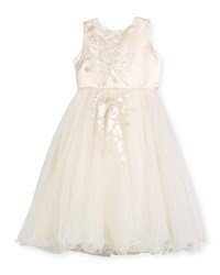 Joan Calabrese Satin And Tulle Special Occasion Dress W Floral Embroidery Ivory Size 4 14