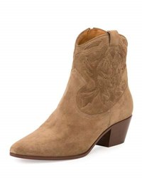 Saint Laurent Rock Embroidered Western Bootie Light Cigar Light Cigare