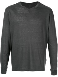 120 Lino Long Sleeved Top Grey
