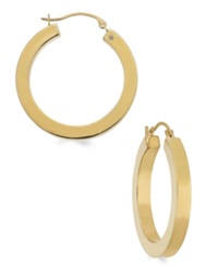 Signature Gold Square Tube Hoop Earrings In 14K Gold