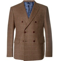 Noah Brown Slim Fit Double Breasted Puppytooth Wool And Cashmere Blend Blazer