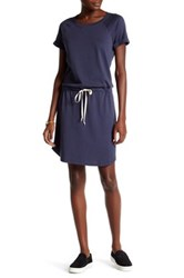 Allen Allen Cuffed Crew Neck Shirt Dress Gray