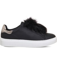 Office Pom Pom Fluff Faux Leather Trainers Black