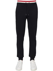 Moncler Tricolor Ribbed Cotton Jersey Sweatpants Navy