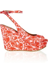 Marc By Marc Jacobs Printed Matte Satin Wedge Sandals