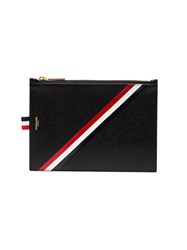 Thom Browne Leather Zippered Document Holder Black