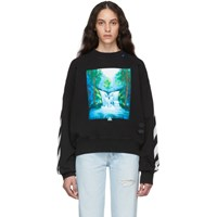 Off White Black And Multicolor Waterfall Over Sweatshirt