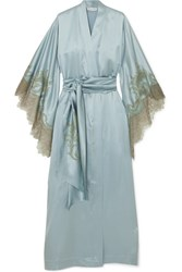 Carine Gilson Chantilly Lace Trimmed Silk Satin Robe Sky Blue