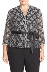 Plus Size Women's Alex Evenings Belted Sequin Lace Blouse