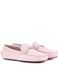 Tod's Gommini Double T Crystal Embellished Suede Loafers Pink