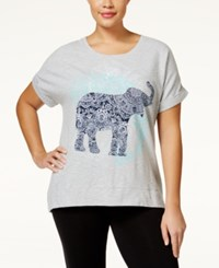 Styleandco. Style And Co. Plus Size Short Sleeve Elephant Sweatshirt Only At Macy's Grey Combo
